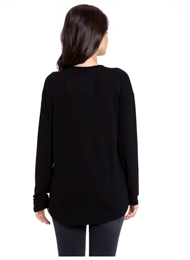 LC Waikiki Uzun Kollu Çiçekli Tişört Siyah